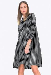 Чёрное платье в белый горошек Emka PL669/altana