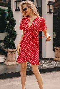 Коктейльное красное платье в белый горох Donna Saggia DSP-325-53