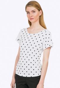 Белая блузка в чёрный горох Emka B2309/bubble
