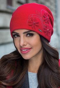 Женская двойная шапка красного цвета Kamea Lukrecja