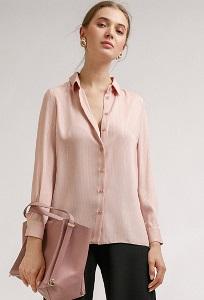 Блузка розового цвета в полоску из люрекса Emka B2412/grave