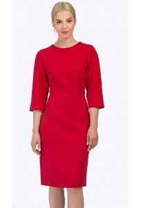 Красное платье-миди из плотной ткани Emka PL708/rostislava