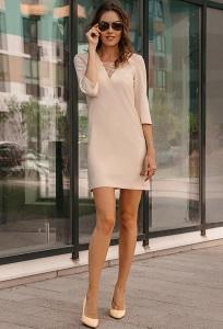 Бежевое платье с кружевным вырезом Donna Saggia DSP-266-2