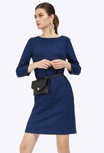 Синее платье с орнаментом гусиная лапка Emka PL879/davina