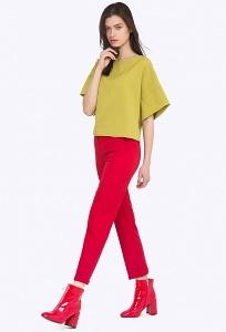 Яркие красный женские брюки Emka D088/amour