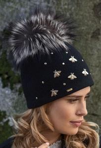 Женская шапка с помпоном из натурального меха Willi Meg