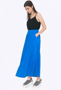 Лёгкая летняя макси-юбка синего цвета Emka S309/saks