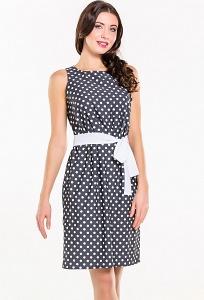 Чёрное платье в белый горох Remix 7283/1