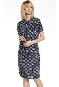 Тёмно-синее платье с геометрическим узором Enny 230036
