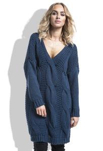 Длинный тёмно-синий свитер Fimfi I232