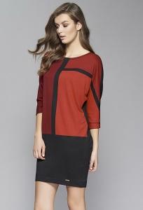 Красно-чёрное платье с геометрическим принтом Zaps Sari