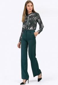 Тёмно-зелёные брюки с высокой посадкой Emka D101/alberi