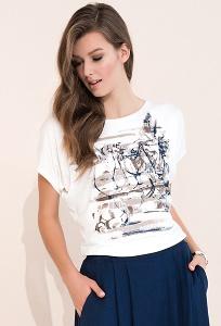 Кремовая летняя блузка свободного кроя Zaps Safona