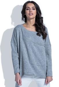 Серый шерстяной свитер с большим карманом Fobya F403