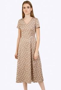Платье-миди бежевого цвета в горох Emka PL830/jimi