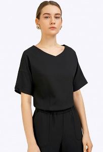 Чёрная блузка с короткими рукавами Emka B2306/nod