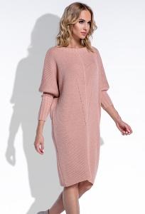 Тёплое платье абрикосового цвета Fimfi I192