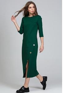 Длинное зелёное платье из трикотажа Donna Saggia DSP-287-44t