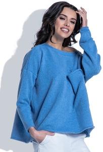 Синий шерстяной свитер с большим карманом Fobya F403