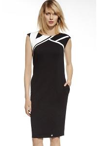 Трикотажное чёрно-белое платье без рукавов Ennywear 230003