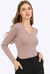 Трикотажная блузка светло-коричневого цвета Emka B2448/casella
