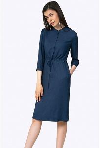 Синее платье-миди из вискозы Emka PL665/fanxy