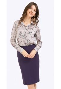 Классическая прямая юбка фиолетового цвета Emka S663/etalon