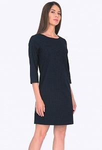 Тёмно-синее платье в горох Emka PL579/bris