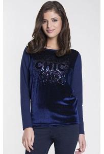 Синяя велюровая блузка Zaps Shira