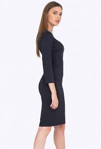 Тёмно-синее платье из жаккардовой ткани Emka PL751/michaela
