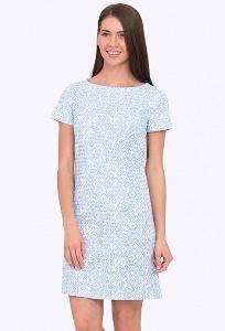Бело-голубое платье прямого кроя Emka PL-522/trishna