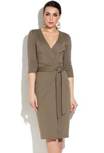Платье с v-образным вырезом цвета хаки Donna Saggia DSP-261-12t