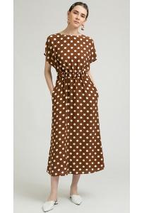 Коричневое платье-миди в крупный горох Emka PL895/riverside