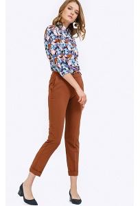Укороченные брюки слим терракотового цвета Emka D135/bozhena