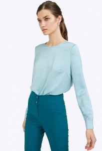 Голубая блузка с длинными рукавами Emka B2324/zaki