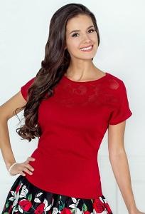 Трикотажная блузка красного цвета Andovers 205501