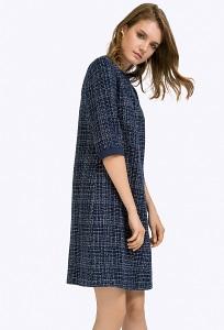 Синее короткое платье из фактурной ткани Emka PL415/rondella