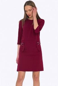 Стильное повседневное платье бордового цвета Emka PL740/flame