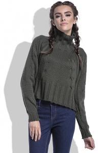 Укороченный женский свитер оливкового цвета Fobya F440