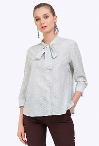 Бледно-зеленая блузка в мелкий горошек Emka B2366/djoul