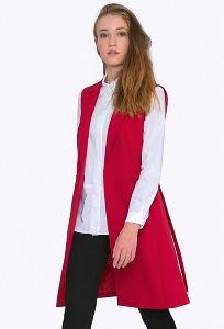 Красный удлиненный жилет с поясом Emka GL018/barberry