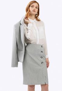Серая юбка в мелкий геометрический узор Emka S812/pray