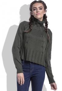 Модный свитер оливкового цвета Fobya F400