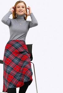 Шерстяная юбка-трапеция в крупную клетку Emka S412/rosha