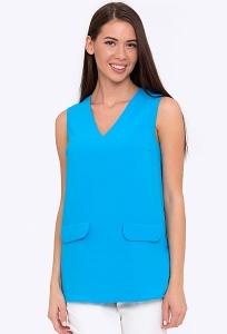 Летний женский топ синего цвета Emka Блузка b 2219/rebecca