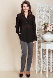 Женские брюки из серой костюмной ткани TopDesign Premium PB6 32