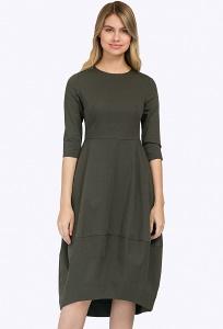 Платье цвета хаки с рукавами 3/4 Emka PL661/omeletta