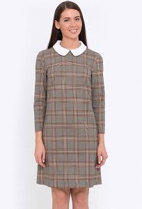 Клетчатое платье с белым воротничком Emka Fashion PL-527/viola