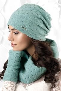 Комплект шапка и снуд серого цвета Kamea Argenta