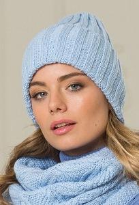 Женская шапка небесно голубого цвета Landre Берлин